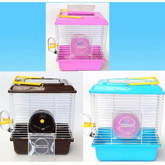 Portable Heighten Single Layer Pet Syrian Hamster Cage with Cover Running Wheel Bowl for Small Habitat Guinea Pigs Mice Habitat 5