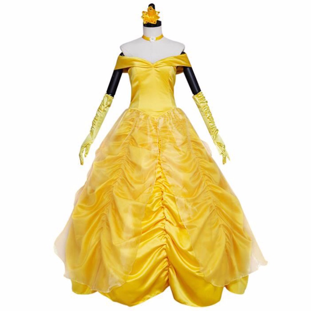 Custom Made Women's Yellow Dress Beauty And Beast Cosplay Princess Belle Dress Halloween Carnival Costume Party