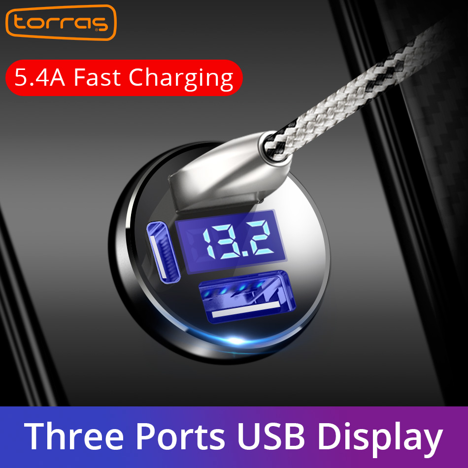TORRAS Dual USB Car Charger MAX 5V 5.4A Metal Fast Charging Universal Car Charger Competiable With Most Phones Quick Charger