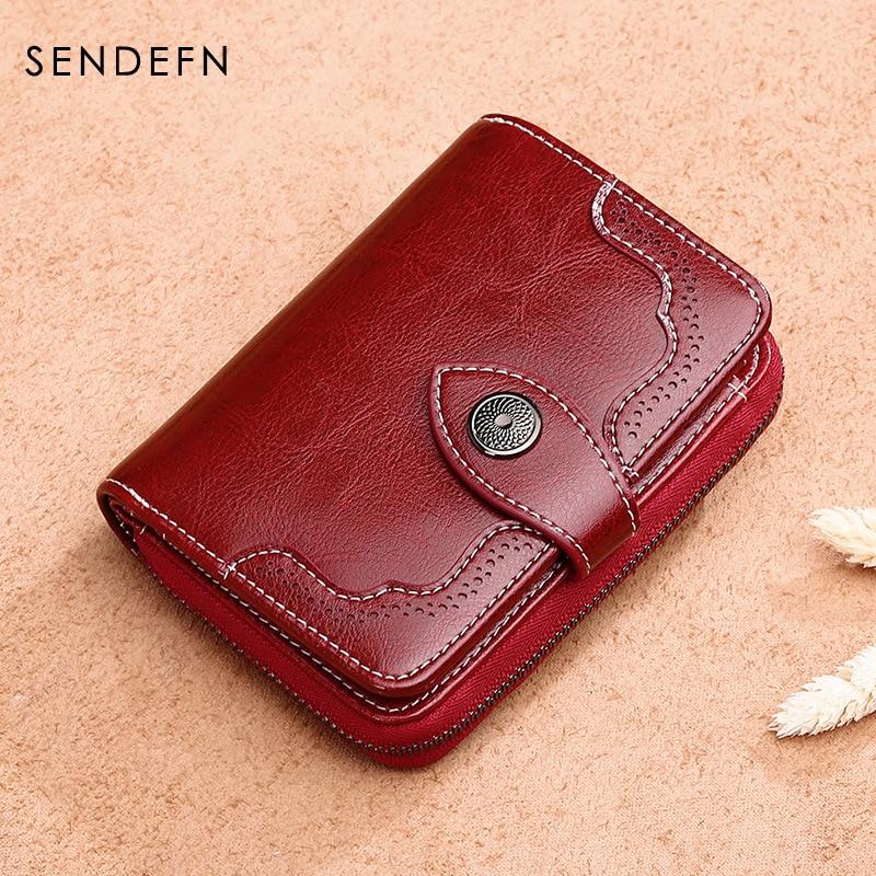SENDEFN 2017 New Wallet Women Purse Brand Coin Purse Zipper Wallet Female Short Wallet Women Split Leather Purse Small Purse