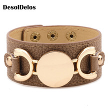 Monogram Leather Cuff Bracelet Pulseras 3 Row Gold Color Multicolor Leather Bracelet For Women Men 2019 Hot Selling