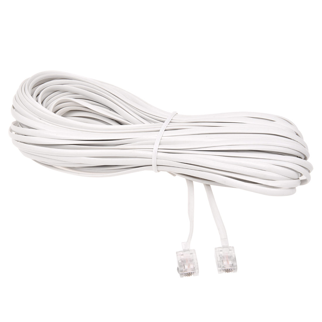 White Male 6P2C RJ11 Plug Telephone Fax Modem Line Cable, 14M for Landline Telephone-SCLL