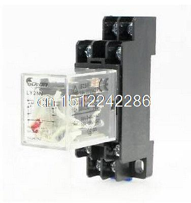 AC 220V Coil 8 Pin DIN Rail Electromagnetic Power Relay 8 Pin 10A LY2NJ w Base