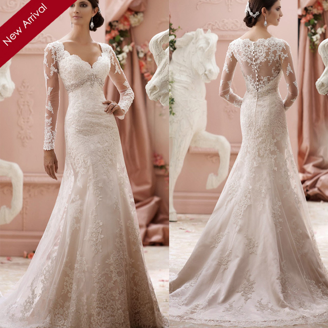 2015 Sheer Lace Back Wedding Dress Sheath V Neck Long Sleeve Beaded Lace  Bridal Gown