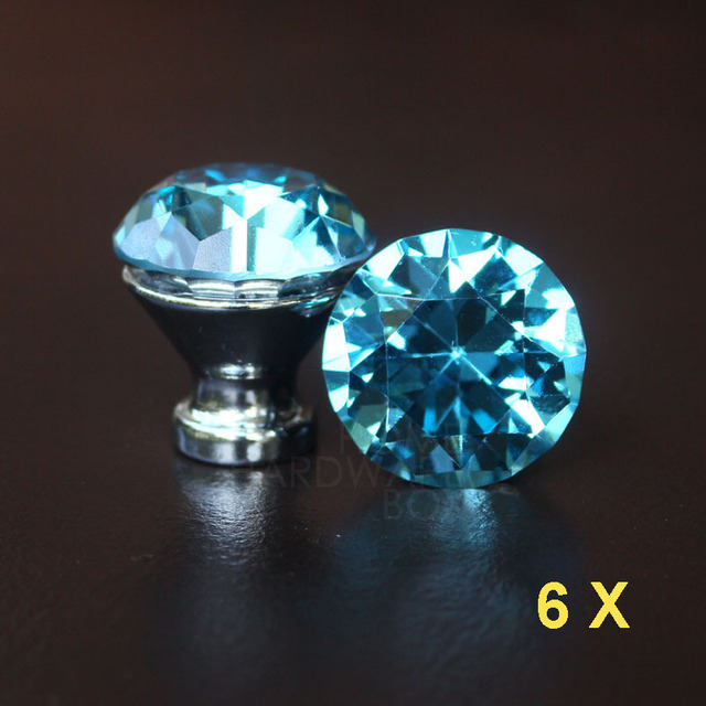 blue crystal drawer knobs 30mm cabinet handle pull glass diamond ...