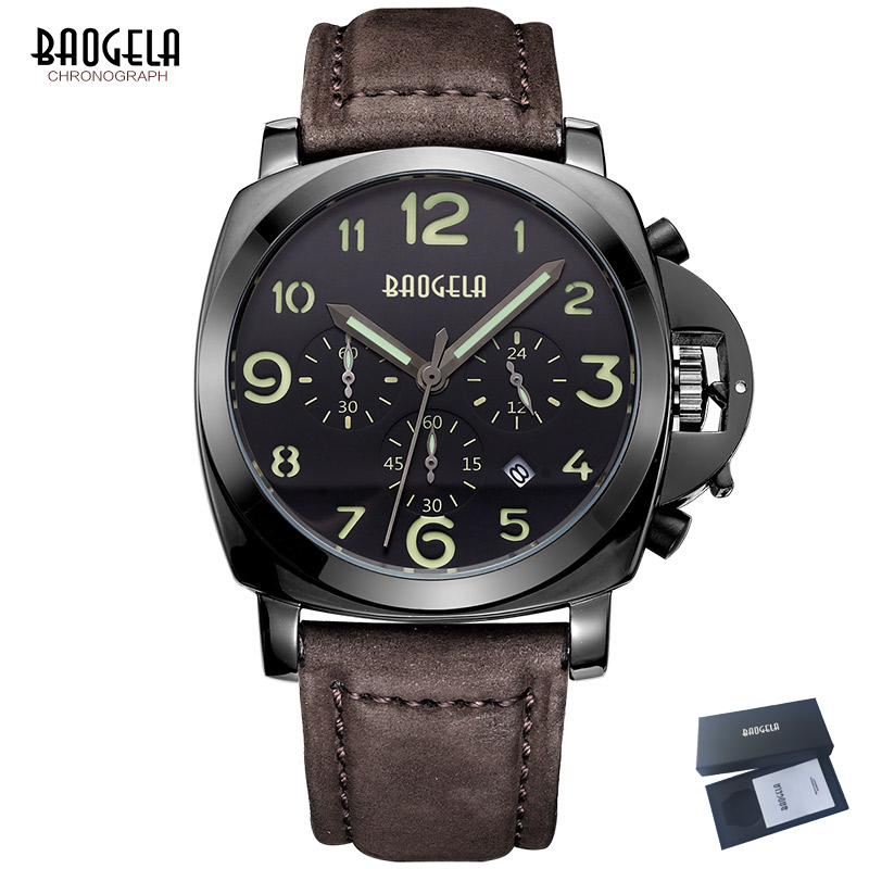 Relogio Masculino BAOGELA Sport Watch Men Chronograph Quartz Wristwatch Mens Watches Top Brand Luxury Clock Leather Strap Saat mens watches top brand luxury jedir quartz watch chronograph luminous clock men military sport wristwatch relogio masculino