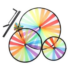 Kids Toys Windmill Garden Outdoor-Decor Rainbow Triple-Wheel-Wind-Spinner Yard Colorful