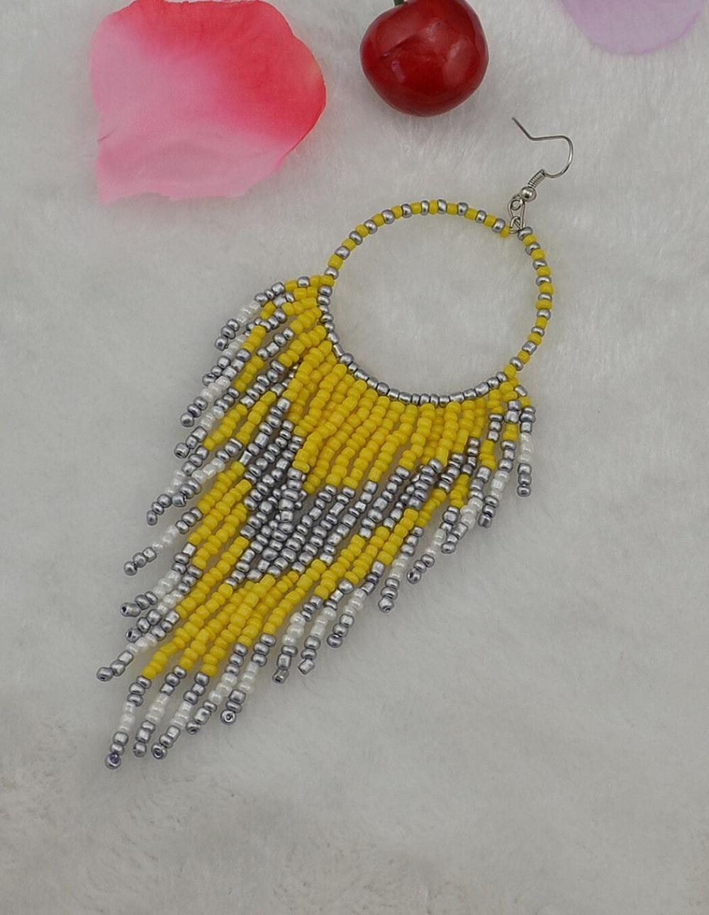 Bohemian Ethnic Blue Seed Beads Tassel Chain Chandelier Earrings Long Circle Hoop Statement Earring For Women Indian Jewelry In Drop From