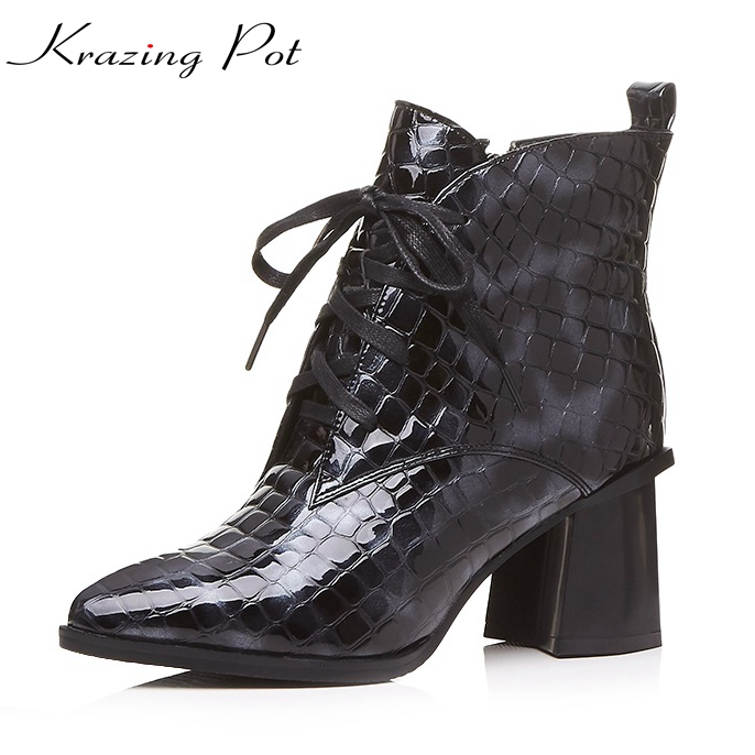 Krazing Pot full grain leather high quality plus size women pointed toe high heels lace up concise lady fashion ankle boots L0f4 popular high quality full grain leather ankle boots size 40 41 42 43 44 sequined decoration zipper design round toe boots