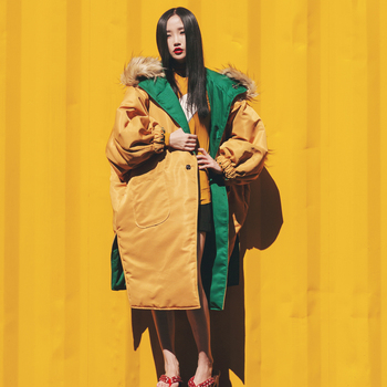 2018 SELLWORLDER Japan Style Yellow & Green Thick Cotton  Coats  Removable hat  Two Side Long Jackets