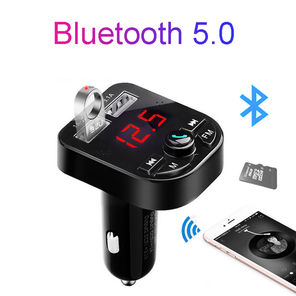 Kit carro bluetooth 5.0 handsfree transmissor fm sem fio lcd mp3 player carregador usb 3.1a acessórios do carro dropshipping dy374