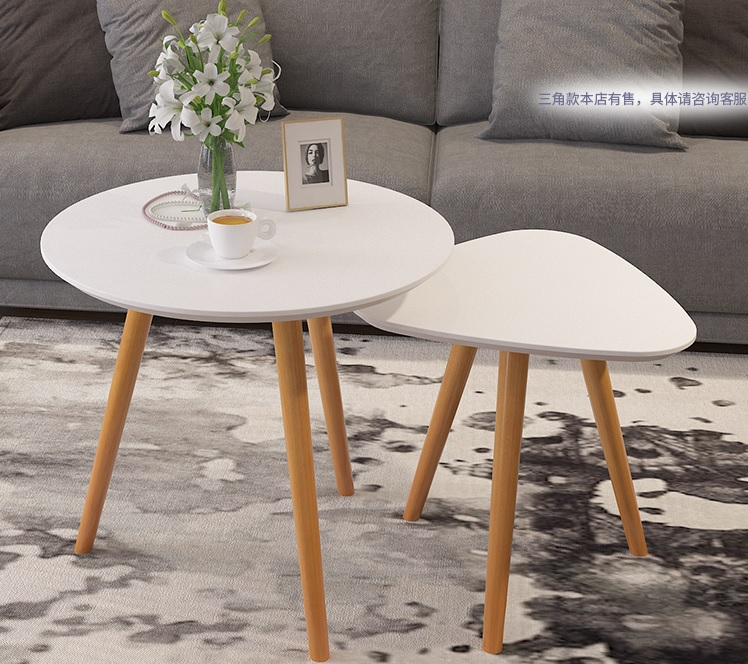 22 size: Modern simple living room coffee table, triangular and circle mini corner/tea/end table,small coffee desk odd ranks yield retro furniture living room coffee table corner a few color seattle bedroom nightstand h