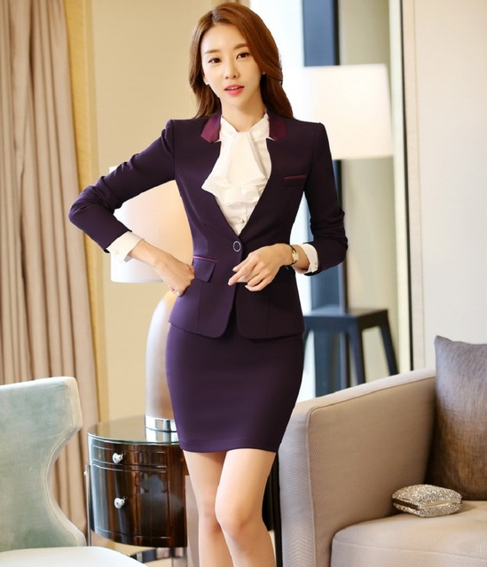 New Professional Fashion OL Styles Spring Autumn Women Work Wear Suits With Jackets And Skirt Office Ladies Blazers Skirt Suits
