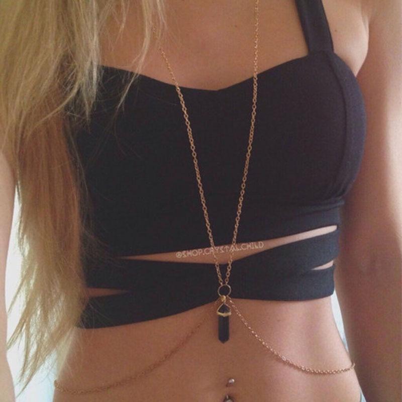 Bikini Crystal-Pendant Body-Chain Rock Summer Charm Street Fashion And America Styles