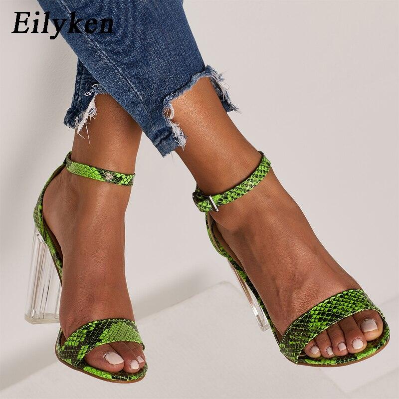 Eilyken/2019 г.; сандалии; Модные женские босоножки с пряжкой и открытым носком; прозрачные босоножки на высоком каблуке