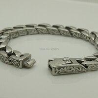 punk cool men/boy's side wave pattern stainless steel chain bracelet men jewelry bracelets bangles