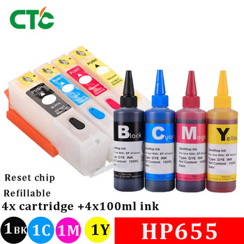 655 Empty Refillable Ink Cartridge With Resettable Chip For Deskjet 3525 4615 5525 6525 Printer +400ML Dye ink image