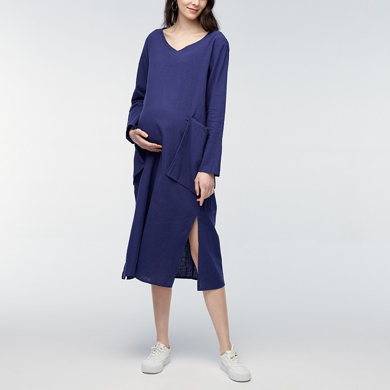 Maternity Clothes 2018 Spring Autumn Pregnant Women Casual Loose Mid-calf Dresses Long Sleeve V Neck Pregnancy Vestidos Oversize