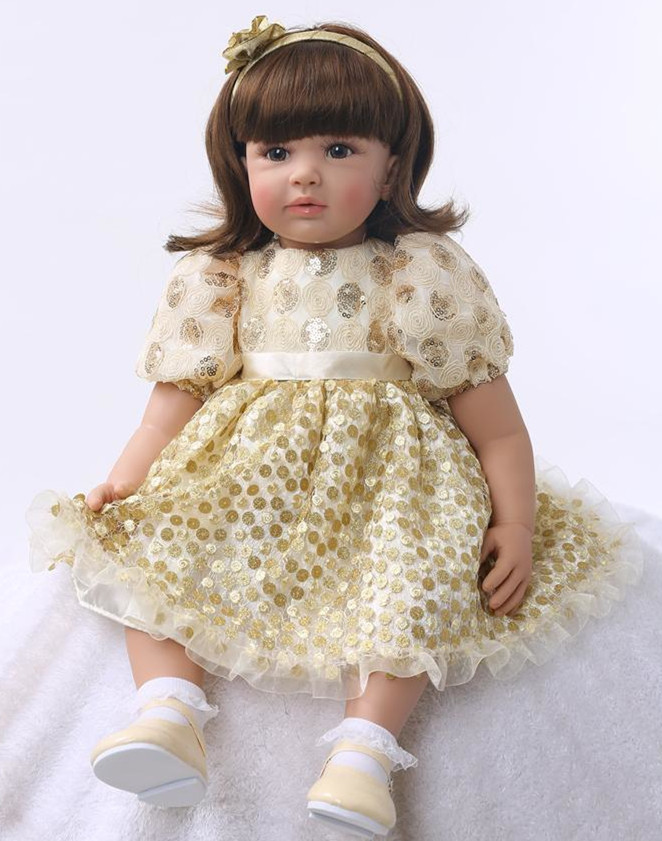55cm Silicone Reborn Baby Doll Toys Princess Toddler Babies With Gold Dress Lovely Birthday Present Vinyl Doll Birthday Gift55cm Silicone Reborn Baby Doll Toys Princess Toddler Babies With Gold Dress Lovely Birthday Present Vinyl Doll Birthday Gift