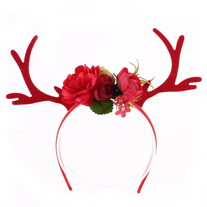 DIWONI Sika Deer Horn Hoop Simple Style Cloth Bow Beautiful Homemade Decorations Christmas Festival Party