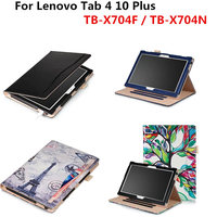 PU Leather Stand Protective Book Cover Handheld Case For Lenovo Tab4 TAB 4 10 Plus TB