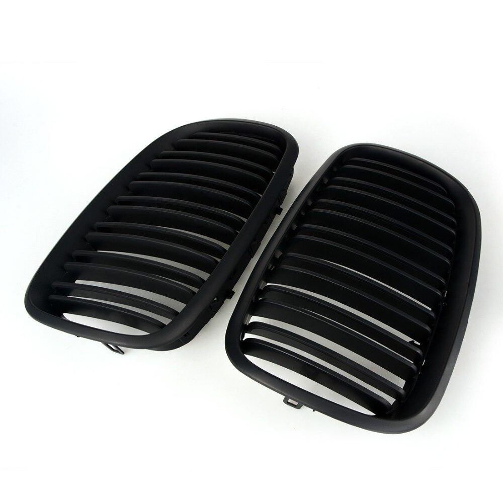 2 sztuk matowy czarny podwójne listwy nerka Grille przodu maskownica do BMW E70 E71 Model X5 X6 SUV M Sport xDrive 2008  2012 samochodów stylizacji w Kratki wyścigowe od Samochody i motocykle na A-ya-ya Store