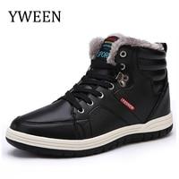 YWEEN Mens Neve Botas Lace Up Tornozelo de Couro Sapatilhas Superiores Altas Sapatos de Inverno com Forro De Pele tamanho 39-48