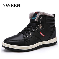 YWEEN Mens Leather Snow Boots Lace Up Ankle Sneakers High Top Winter Shoes With Fur Lining