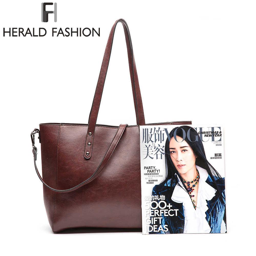 Herold Mode 2018 Neue Beiläufige Handtaschen Für Frauen Große Kapazität Schulter Tasche Luxus Marke Tote Tasche Weibliche PU Leder Tasche beutel