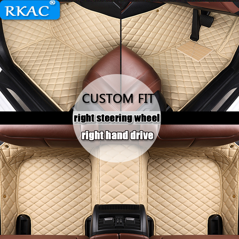 RKAC Leather Car mats Custom fit for Mercedes Benz W203 W204 W205 C class 180 200 220 floor rear cargo liner Right hand drive