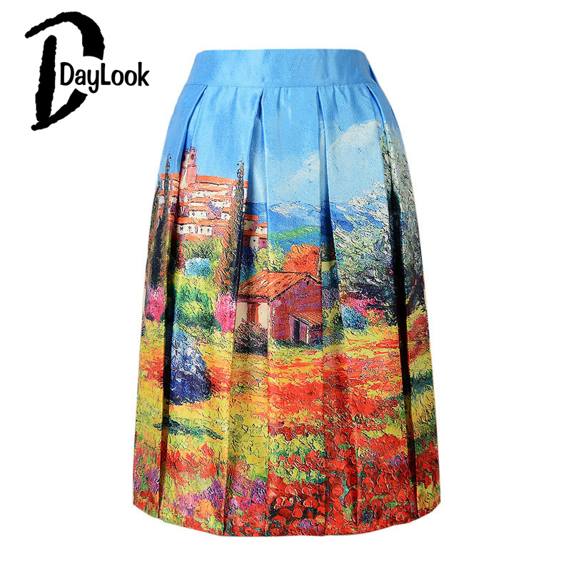 DayLook DayLook 2016 Tutu Women Skirt Elastic High Waist Pleated Blue Vintage 3D Oil Painting Print Falda Skater Midi Skirts Zipper