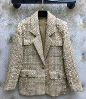 Модная женская обувь в стиле BF комплекты клетчатых блейзеров; Куртки Новый 2019 Весна осень повседневные куртки пальто A082