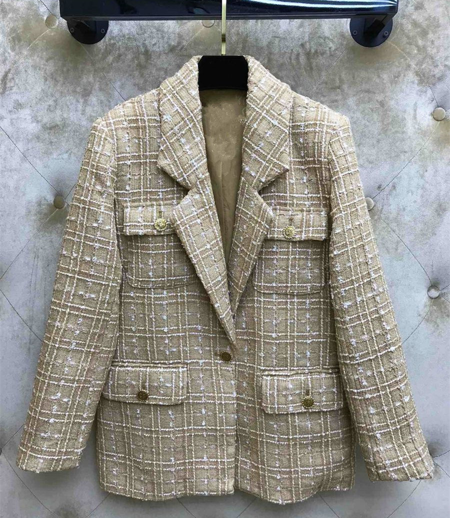 Hot Fashion Tweed Jackets Coat 2019 Spring Autumn Casual Loose Plaid Blazers Coat A363