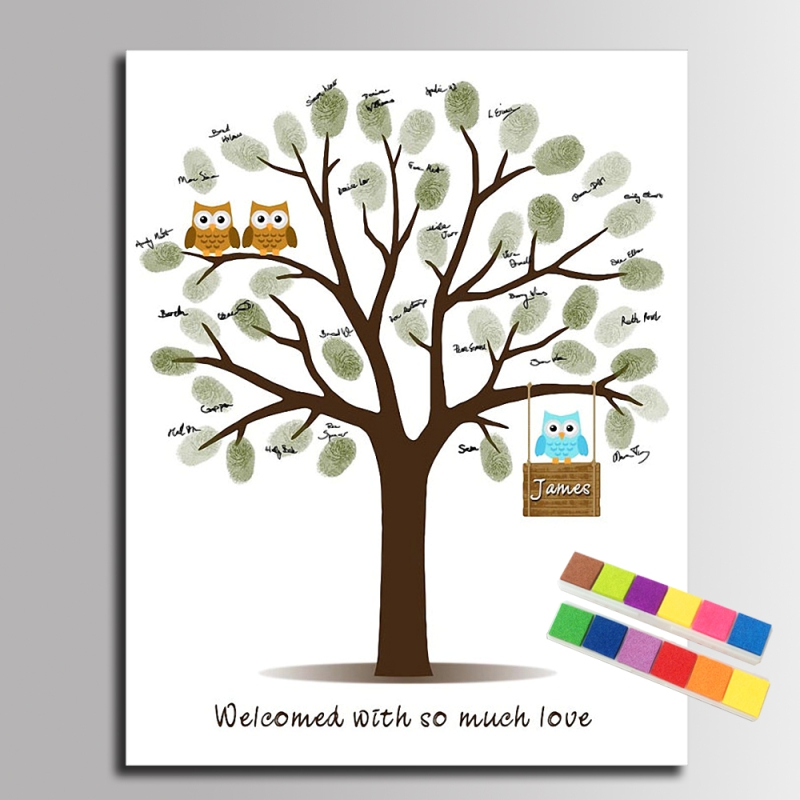 Baby Shower Guest Book Fingerprint Tree Painting Signature Canvas Poster Cartoon Owls Tree Baptism Regalos Comunion Decorations