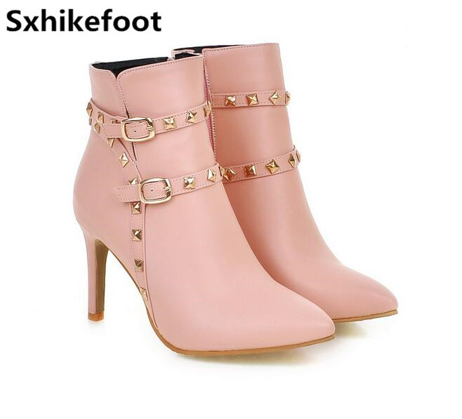 ФОТО Free Shipping  Large size Woman shoes European hot 2017 new winter boots nail boots fashion temperament Martin boots 5-10.5