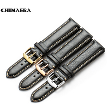 CHIMAERA 18mm 19mm 20mm 21mm 22mm Black Vintage Watchband Genuine leather Watch Band Strap pin buckle For Omega Seiko Tissot