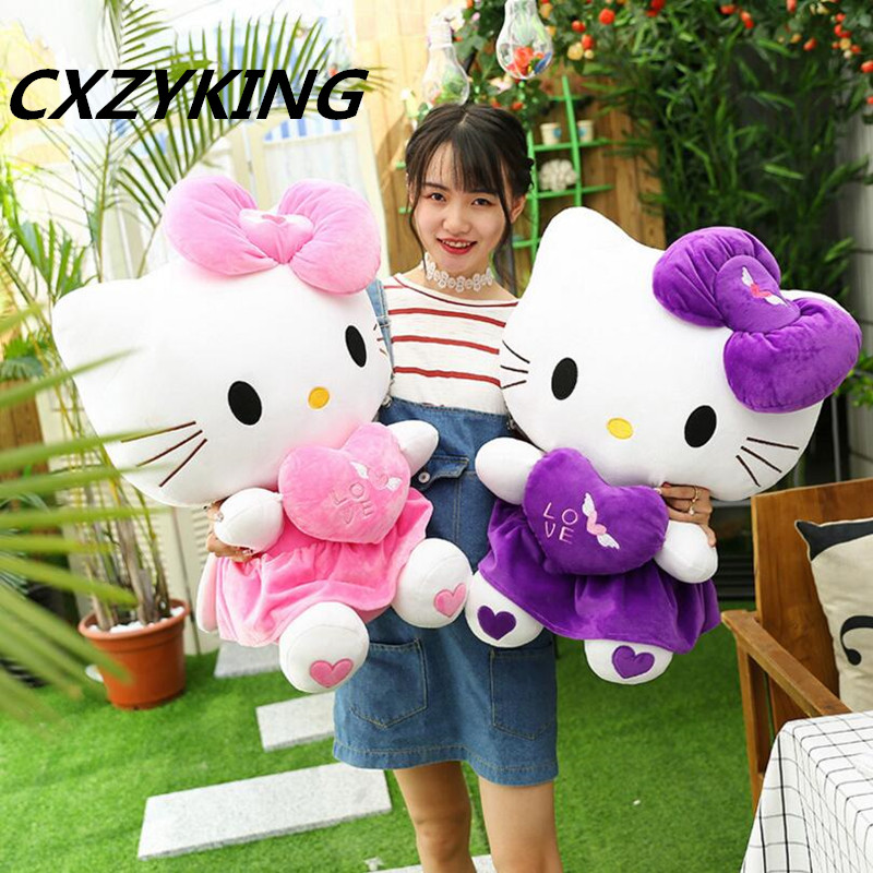 CXZYKING New KT Cat Hello Kitty Plush Toys Cute Hug Heart Hello Kitty KT Cat Pillow Dolls For Kids Baby Girl Gifts falling kingdoms rebel spring