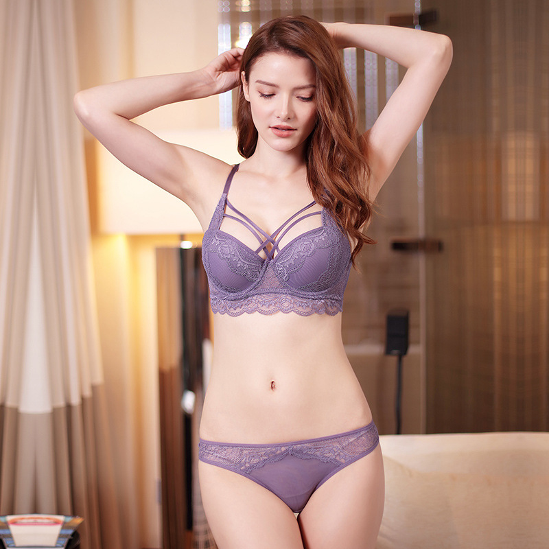 New Bandage   Bra     Sets   Women Underwear   Sets   Sexy Lace Gathered   Bras   and Transparent   Briefs   Lingerie   Set   Lavender Drop shipping