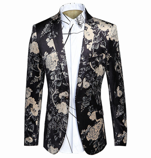 2017 New Arrival Blazer Men Floral Men's Suits Costume Homme Blazer Masculino Wedding Dress Slim Fit Mens Blazer Jacket Black