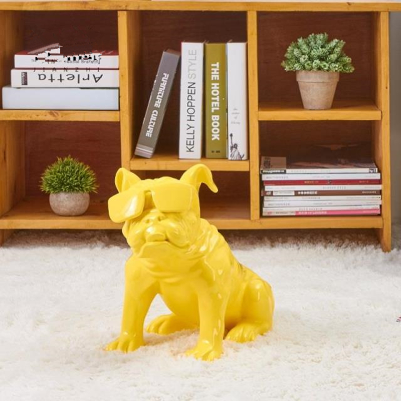 Hot! Cute Cartoon Version Glasses Dog American Pop Art Resin Craft Dog Figurine Statue Best Gift for Home Decoration