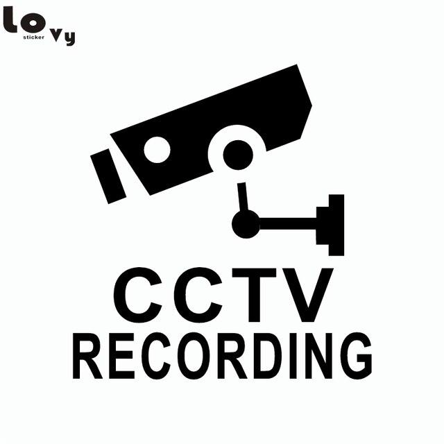 Creative Cartoon Security Camera Vinyl Wall Sticker Shopping Mall