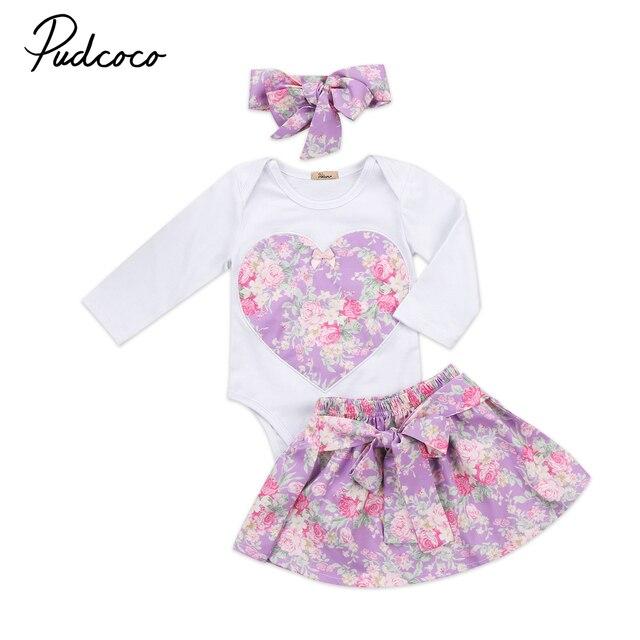 c4f48b6484 Bonito Da Criança Do Bebê Crianças Meninas de Manga Comprida Coração Floral Macacão  Macacão de Impressão