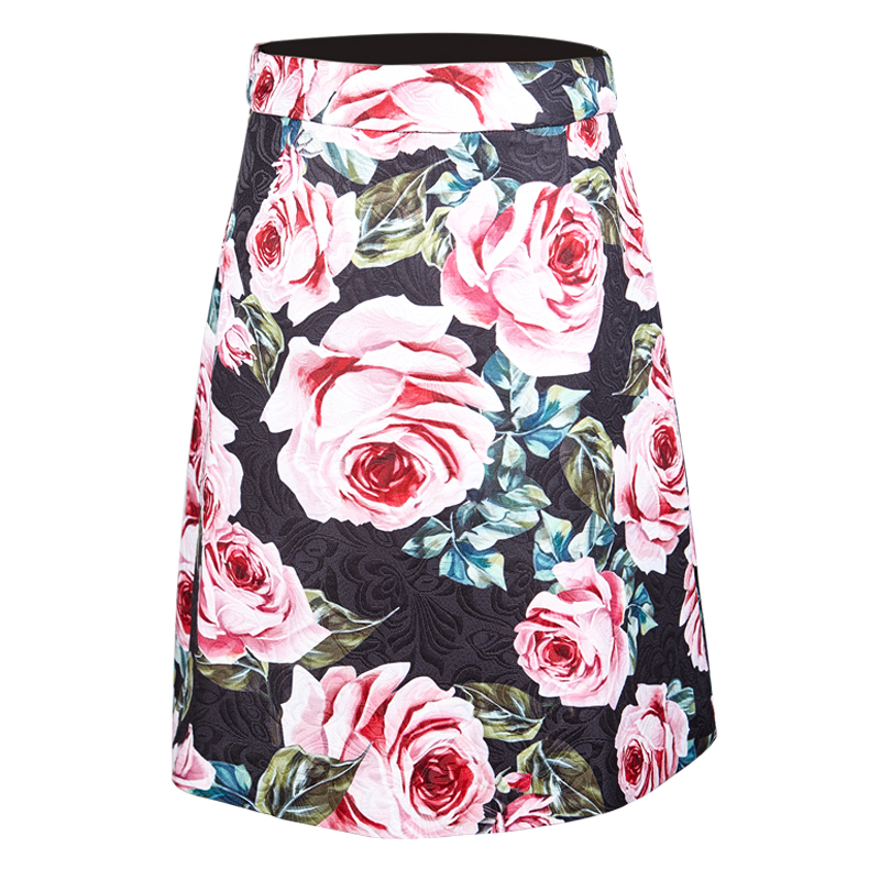 Nouvelle mode femme Rose imprimé Floral Jacquard Rose jupes courtes taille haute décontractée grande taille 3XS-10XL jupe a-ligne