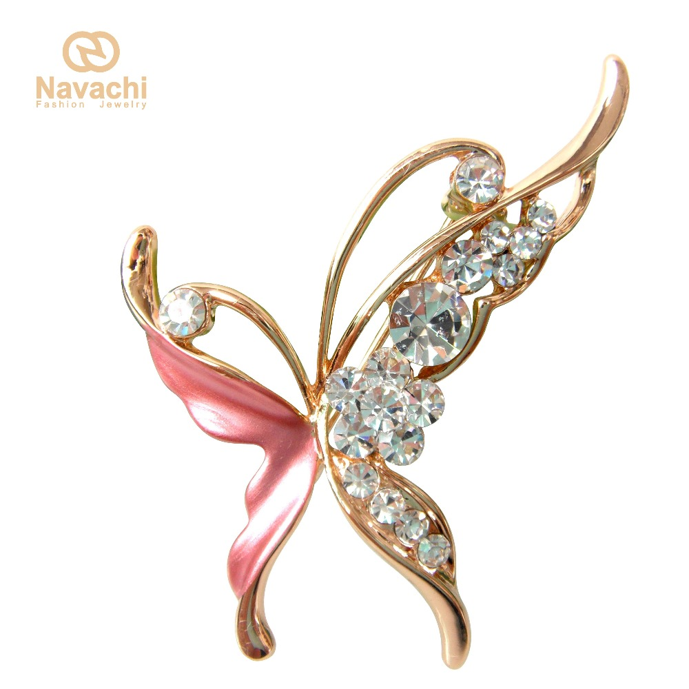 Navachi Super Butterfly Insect Red Enamel  Yellow GP Rhinestone Crystal Pin Brooch SMT8004