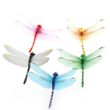 GSFY-5pcs 8cm 3D Artificial Dragonflies Luminous Fridge Magnet for Home Christmas Wedding Decoration, Colors Randomly Send 1