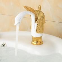 Luxury Golden White Bathroom Vessel Sink Faucet Single Lever Swan Vanity Sink Mixer Tap