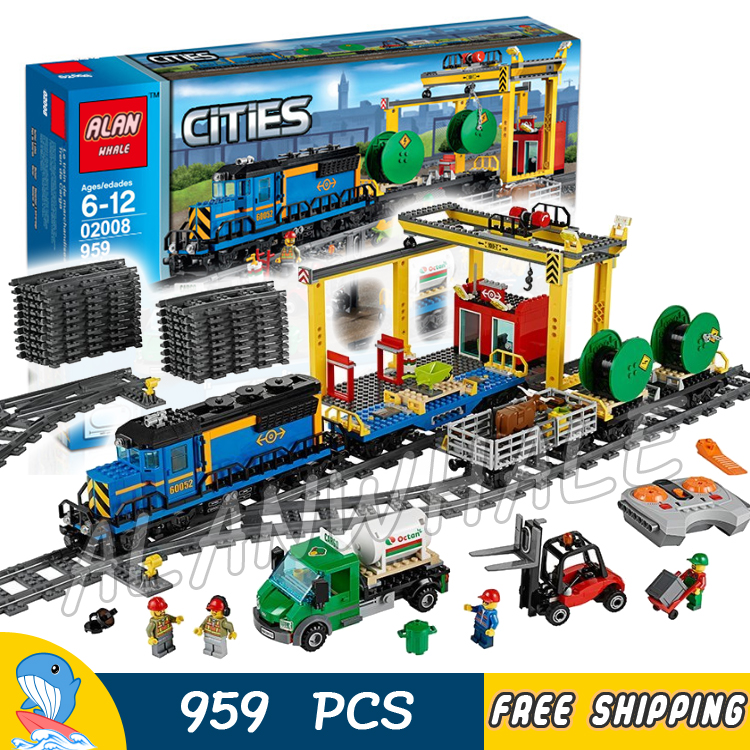 959pcs City Motorized Remote Control Cargo Train Hobby 02008 Model Building Block Toy Brick Power Functions Compatible With lego 11types techinic power functions motorized moc m l xl servo motor battery box model building blocks toy set compatible with lego