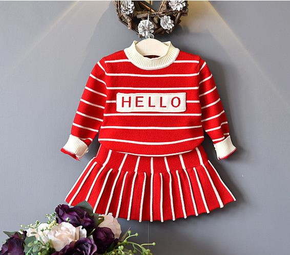 Children Girls Sets 2018 New Autumn Red Striped Knitted Suits Long Sleeve Strip Sweater+Skit 2Pcs Kids Suits For 3-7Y bear leader girls sets 2017 new autumn pink houndstooth knitted suits long sleeve plaid sweater skit 2pcs kids suits for 3 7y