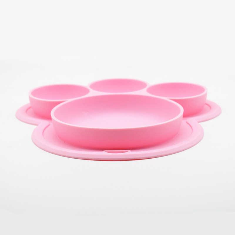 Placa de Silicone BPA Livre Forma Dos Desenhos Animados Da Pata de Urso do bebê Crianças Jantar Pratos Talheres Treinamento Bebê Crianças Bacias de Alimentação de Sucção