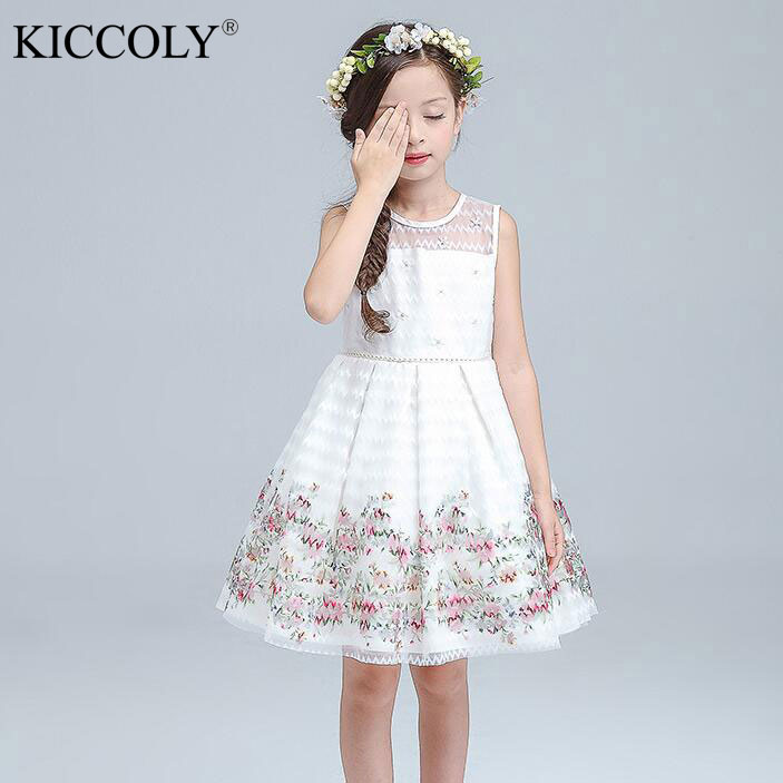 2017 Spring And Autumn Kids Dresses For Girls Floral Print Wedding ...